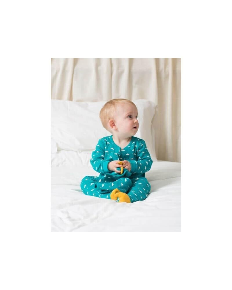 Tutina neonato in cotone biologico equosolidale. Turchese