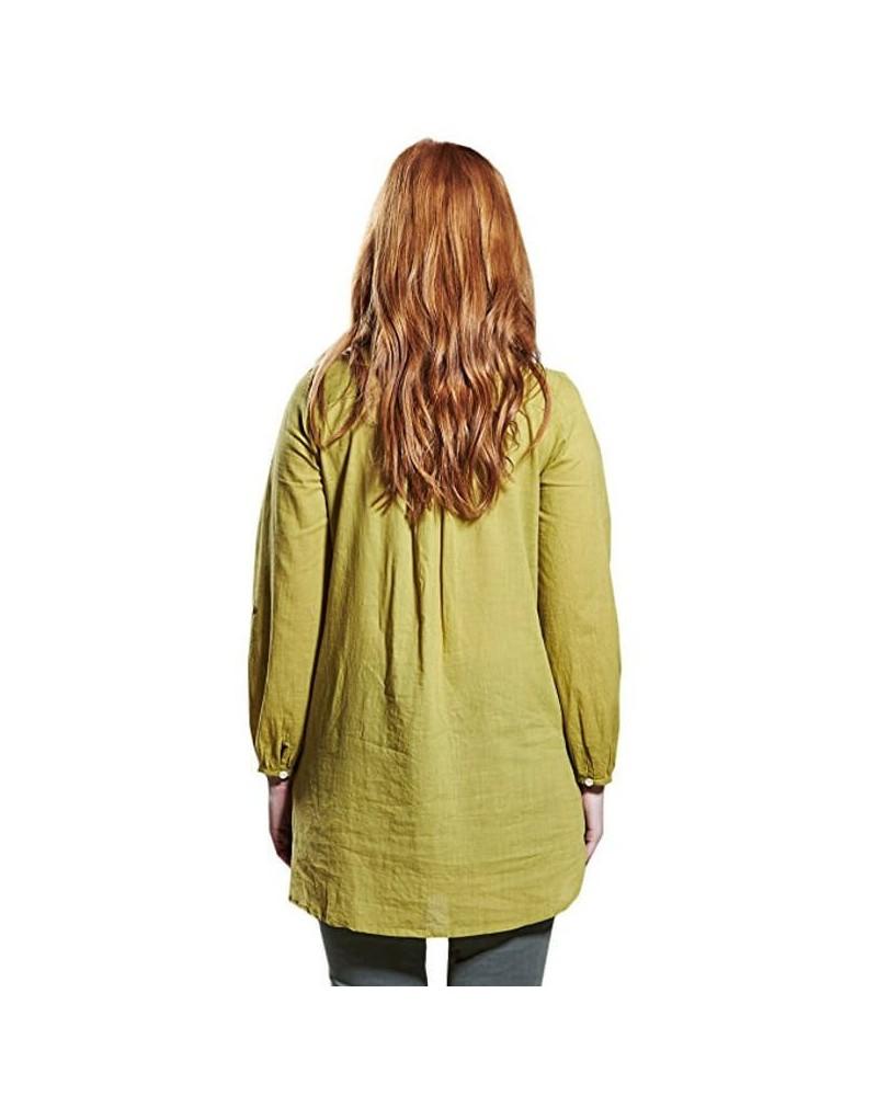 Camicia lunga in cotone biologico tinta unita. Verde