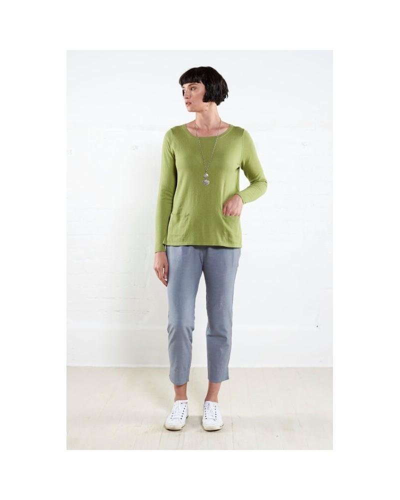 Maglia donna in cotone bio tinta unita maniche lunghe. Verde mela