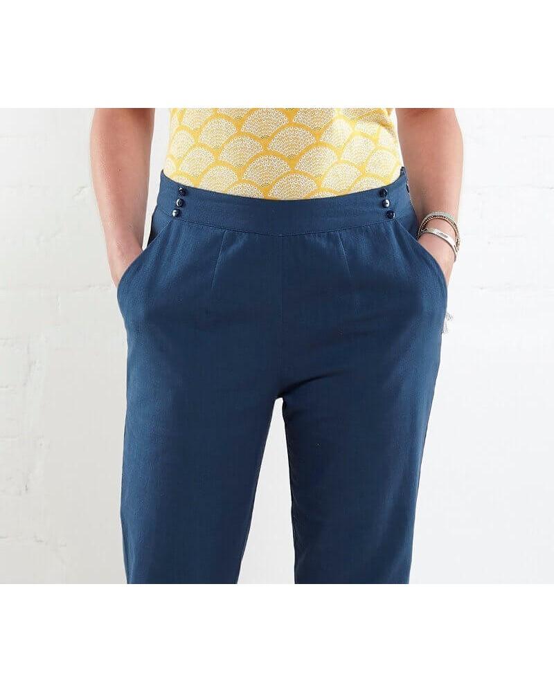 Pantalone donna in cotone bio. Blu