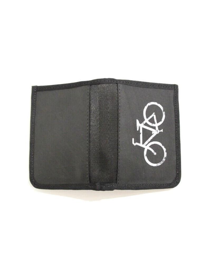 Portafogli nero in camera d'aria riciclata bici Commercio equo
