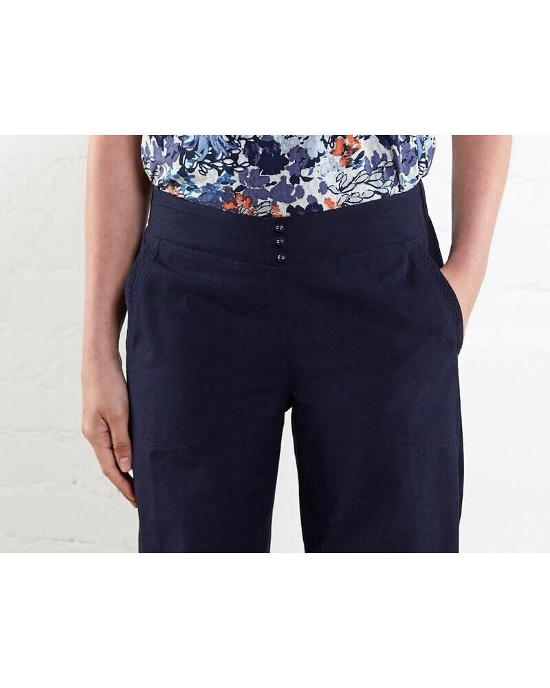 Pantalone donna blu in cotone bio. Commercio equo.