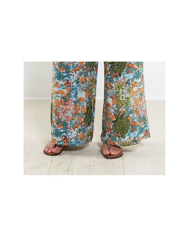 Pantalone a palazzo in viscosa Fantasia floreale.