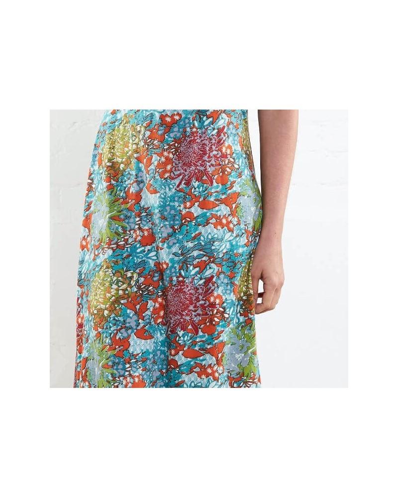 Vestito lungo estivo in cotone bio fantasia floreale.
