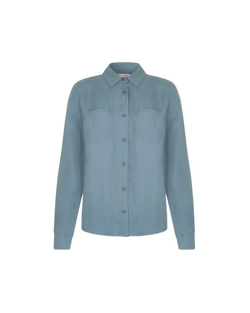 Camicia donna tinta unita in tencel e lino blu heron.