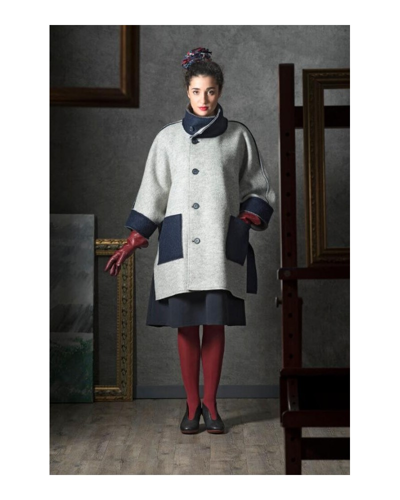 Cappotto donna in lana double face blu-grigio