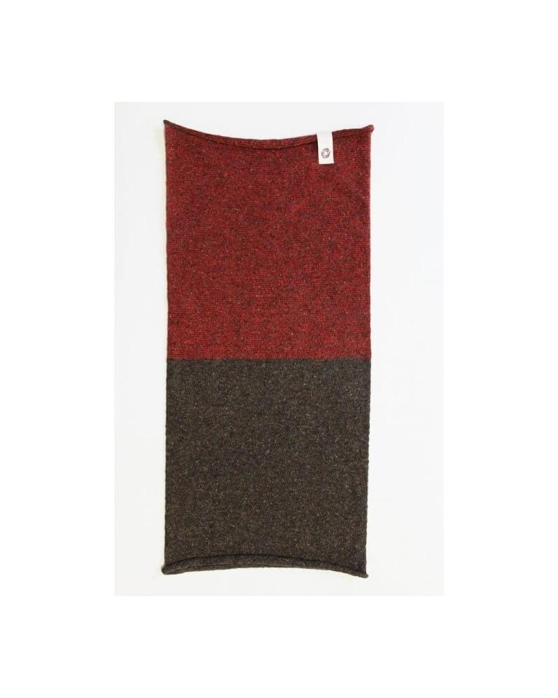 Ganzo lo scaldacollo in lana e seta rigenerata, talpa/rosso.