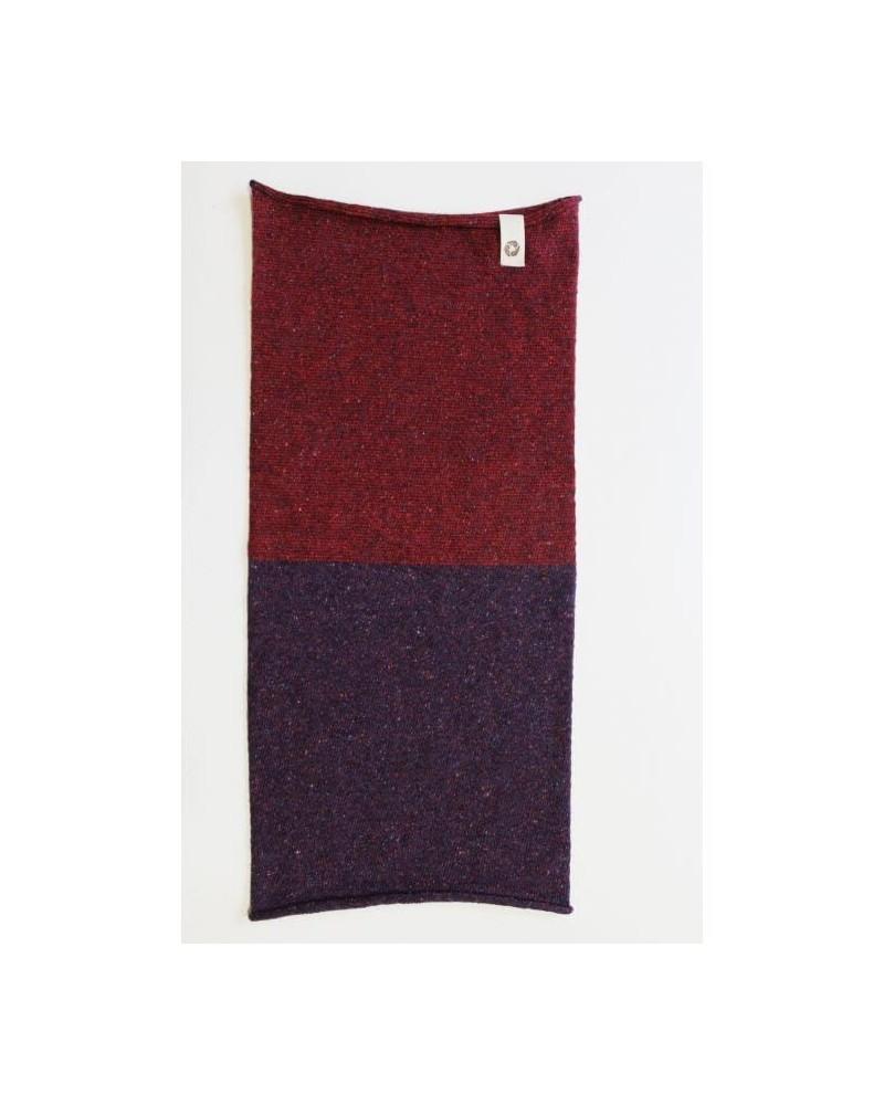 Ganzo lo scaldacollo in lana e seta rigenerata, melanzana/rosso.