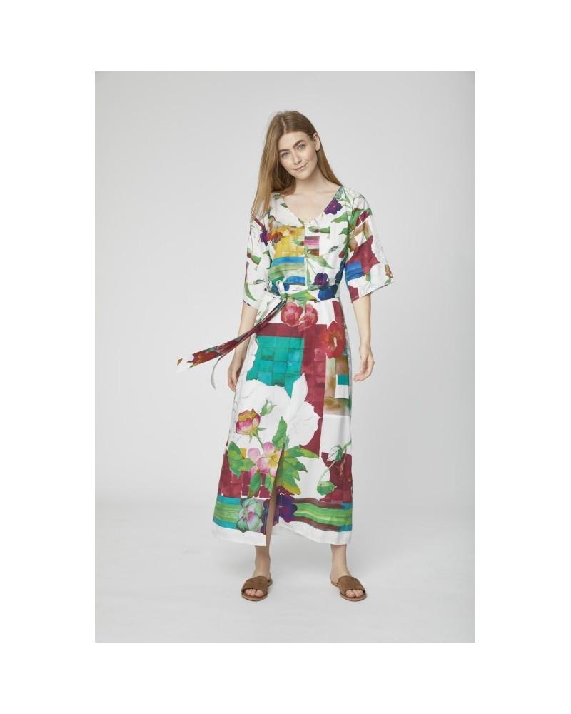 Vestito lungo in tencel manica kimono floreale.