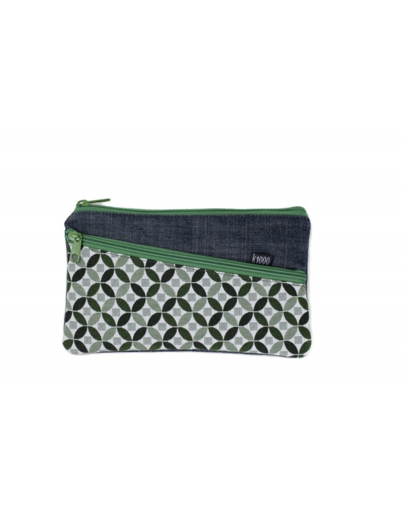 Astuccio necessaire artigianale in cotone. Mosaico verde