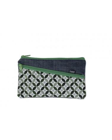 Astuccio necessaire artigianale in cotone, mosaico verde