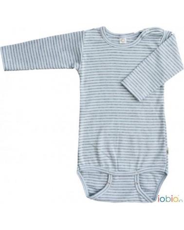 Body neonato manica lunga in cotone bio righe IOBIO Popolini