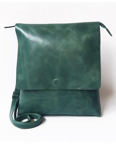 Borsa verde in pelle equosolidale.