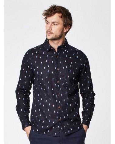 Camicia uomo in cotone bio e canapa blu notte Thought