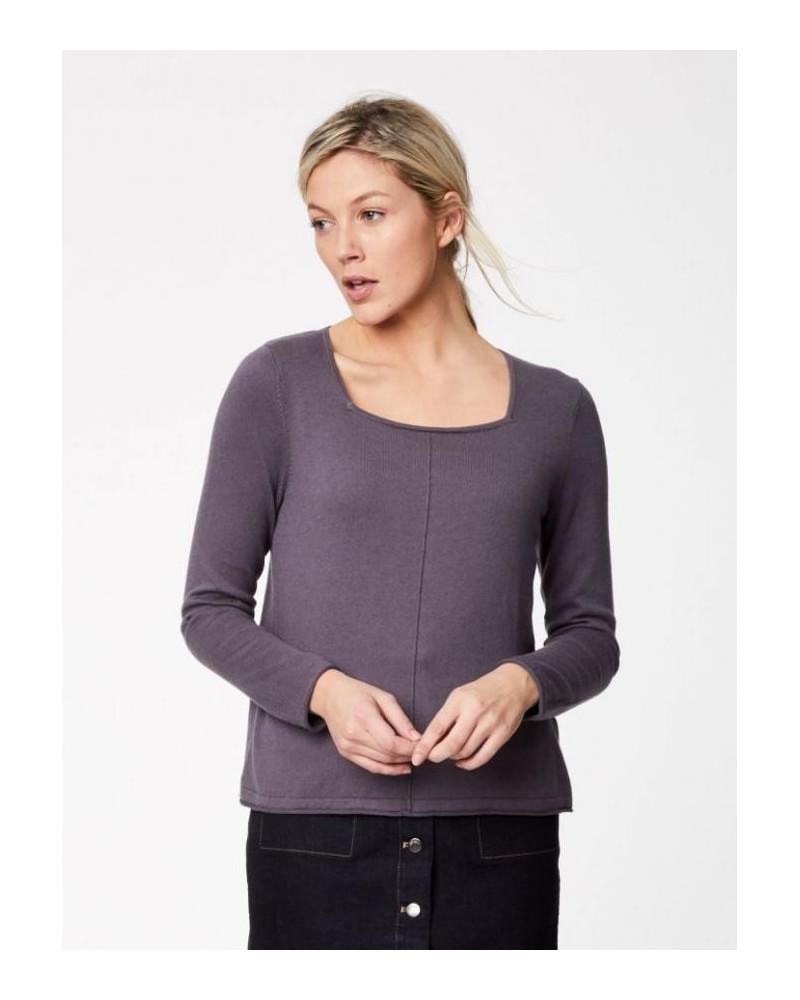 Maglia donna grigia manica lunga in cotone e lana.