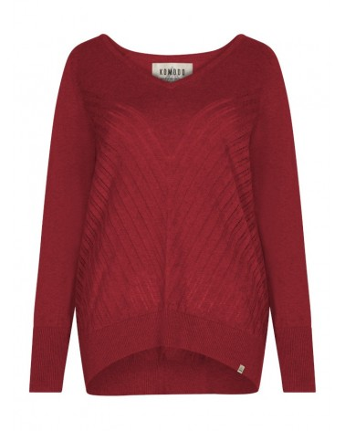 Maglione rosso tinta unita in cotone bio, Komodo.