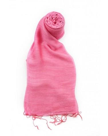 Sciarpa rosa peonia in seta e lino tinture ecologiche.