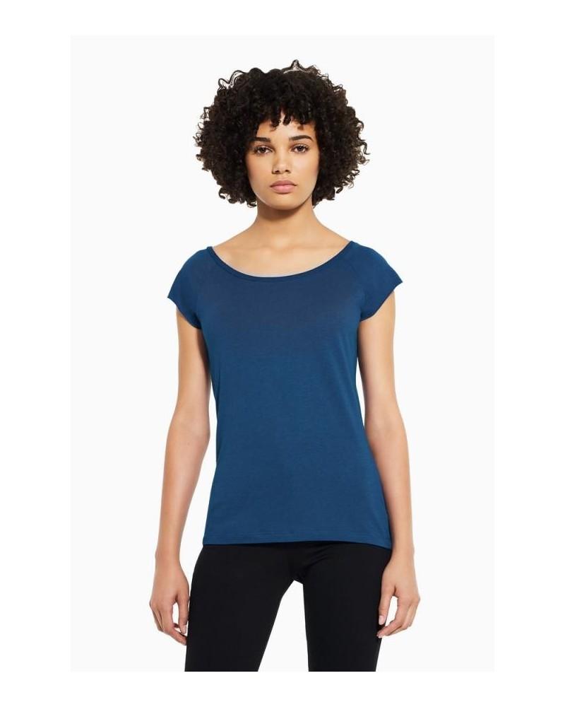 T-shirt donna in bambù e cotone biologico, Blu.