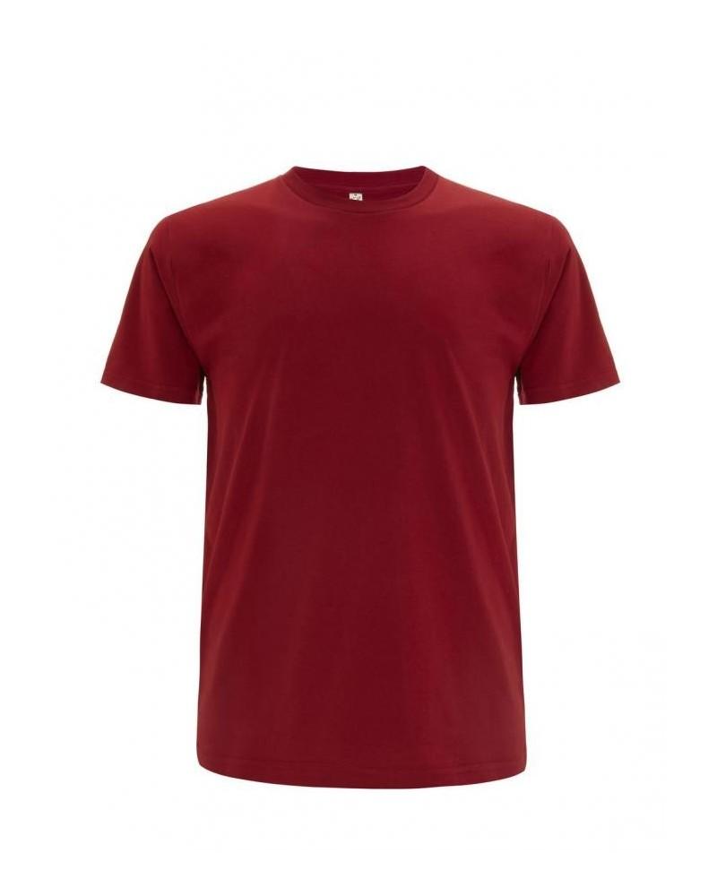 T-shirt uomo rosso scuro in cotone biologico. Prodotto ecologico