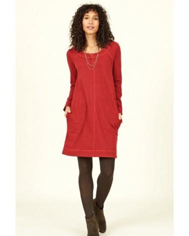 Vestito in morbido cotone bio, rosso. Nomads.