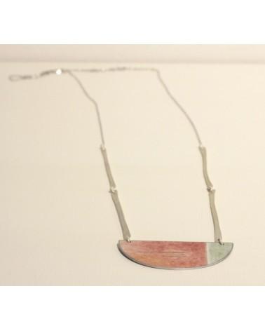 Collana lunga mediterranea in argento, alluminio, carta laccata. Edizione limitata, Terracotta.