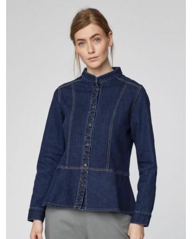 Giacca in jeans da donna con cuciture in contrasto. Blu denim