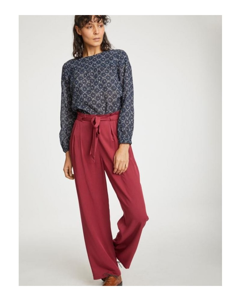 Pantalone donna in tencel bordeaux, Thought.