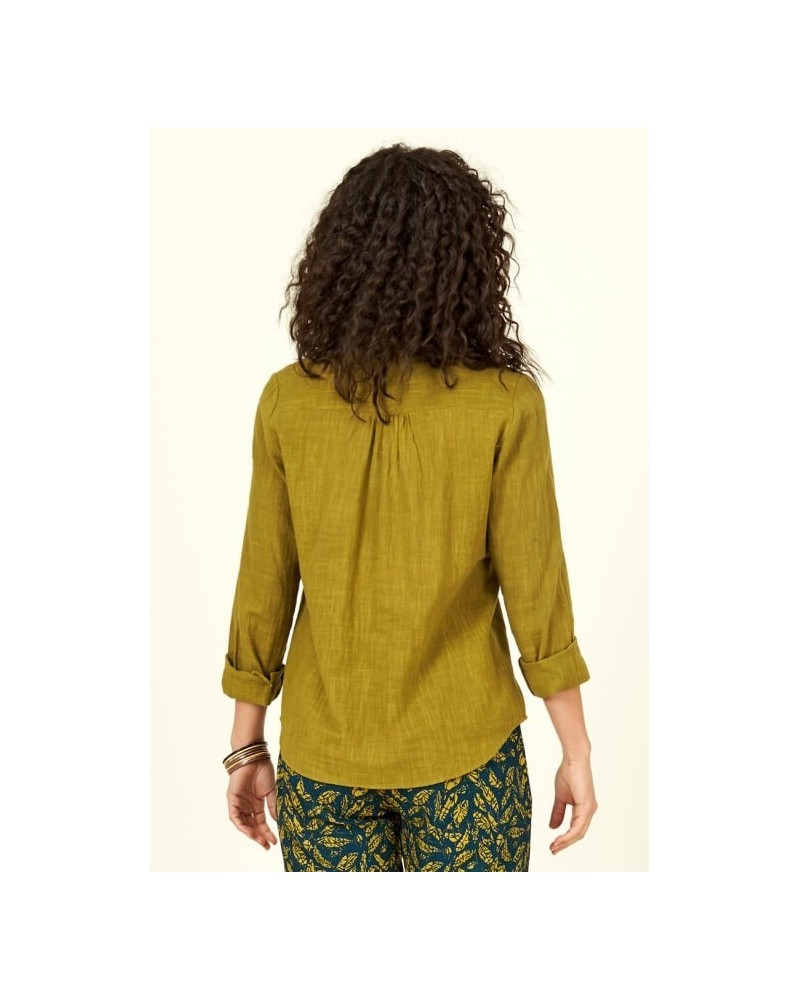 Camicia donna verde in cotone manica lunga. Nomads