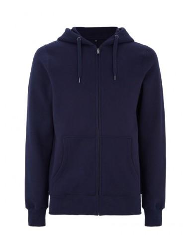 Felpa in cotone pesante blu scuro con cappuccio e zip. Prodotto ecologico.