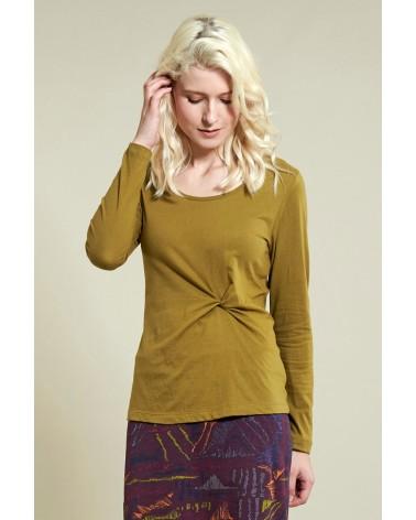 Maglia donna verde manica lunga in cotone bio, equosolidale.