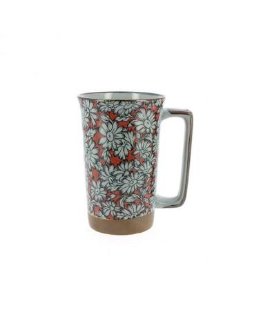Mug in ceramica giapponese grigia fiori bianchi. Made in Japan