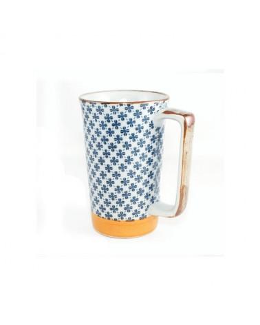 Mug in ceramica giapponese grigia fiori blu. Made in Japan