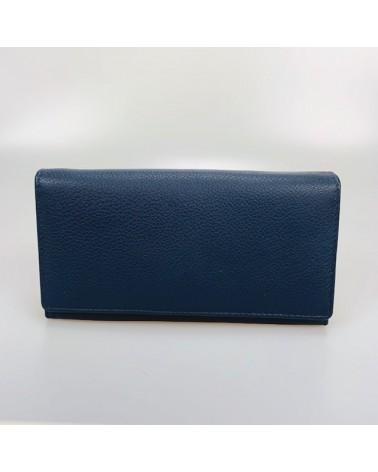 Portafogli grande artigianale in pelle blu navy, equosolidale.