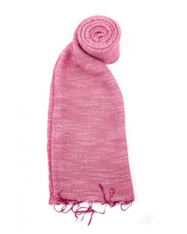 Sciarpa rosa in seta e lino tinture ecologiche. Filo medio