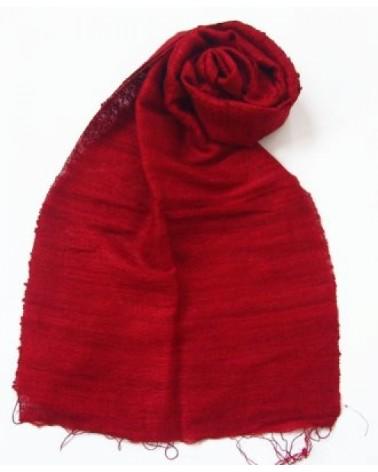 Sciarpa in pura seta rosso veneziano. Prodotto equosolidale.