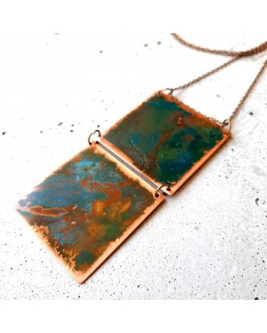 Collana artigianale in metallo ossidato, doppio quadrato.