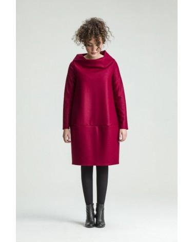 Abito palloncino in lana sartoria creativa. Rosso e nero