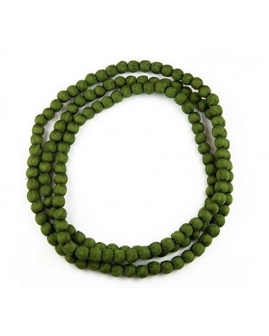 Collana lunga verde bosco lunga in seta e legno, colori ecologici.