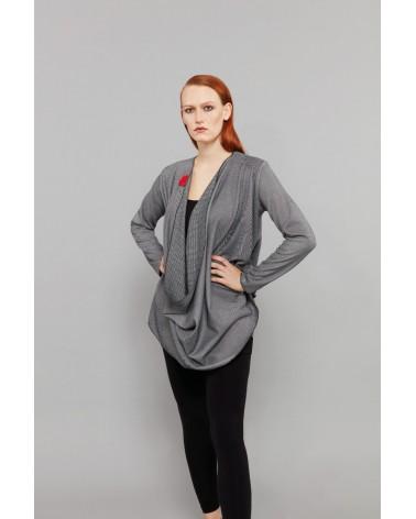 Maglia donna trasformabile in lana maniche lunghe, blu scuro.