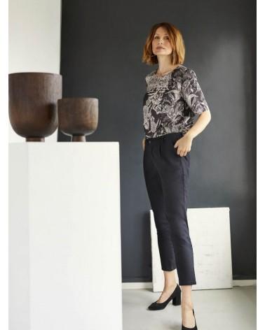 Pantalone donna nero in cotone bio, Thought.