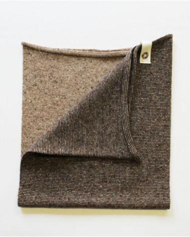 Scaldacollo in lana e seta rigenerata, beige/talpa.