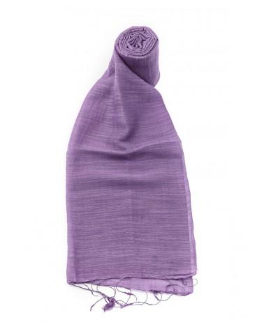 Sciarpa lavanda in seta e cotone con tinture ecologiche.