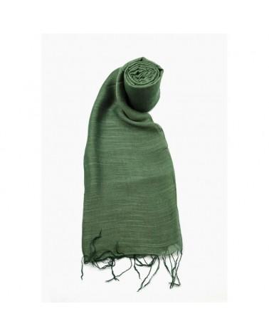 Sciarpa verde abete  in seta e lino colori ecologici.