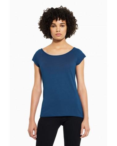 T-shirt donna in bambù e cotone biologico, Blu elettrico.