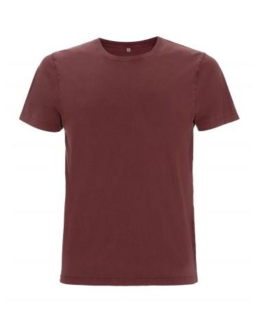 T-shirt uomo amaranto slavato in cotone biologico. Prodotto ecologico