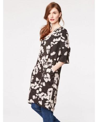 Vestito nero minimal floreale.