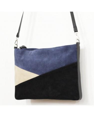 Borsa a tracolla in pelle blu cobalto e nero.