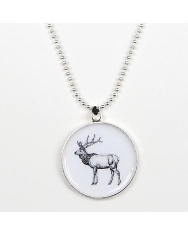 Collana in ottone galvanizzato e carta resinata, colore argento. Bestiario, Cervo