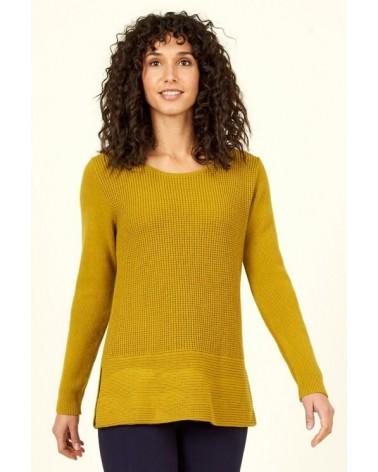 Maglione in lana merino e cotone bio verde limone, Nomads.