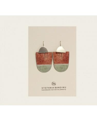 Orecchini mediterranea in argento, alluminio, carta laccata. Edizione limitata, Terracotta.